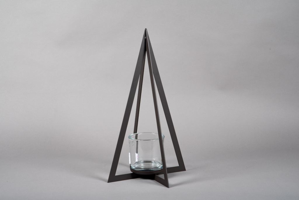 X001ZV Photophore sapin en métal noir H53cm