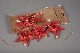 X002U3 Sachet de 6 étoiles déco papier rouge D12cm