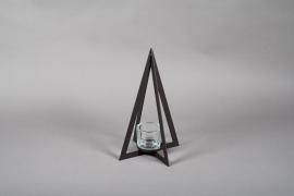 X002ZV Photophore sapin en métal noir H40cm