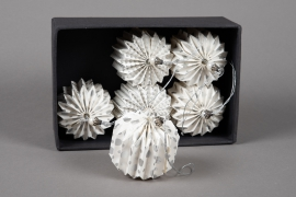 X003U3 Box of 6 white paper deco balls D7cm