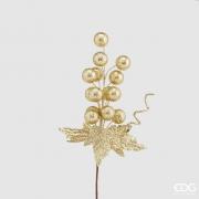 X004QL Set de 10 pics boules houx or H30cm