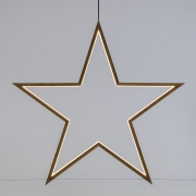 X005R5 Natural wooden star with LED D75cm