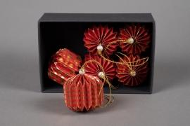 X005U3 Boîte de 6 boules déco papier rouge D7cm
