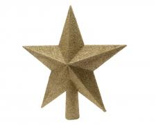 X006KI Cimier étoile pailletée or D19cm
