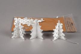 X006U3 Sachet de 6 sapins déco papier blanc et argent D8cm