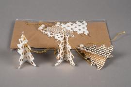 X007U3 Sachet de 6 sapins déco papier blanc D8cm