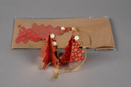 X008U3 Sachet de 6 sapins déco papier rouge D8cm