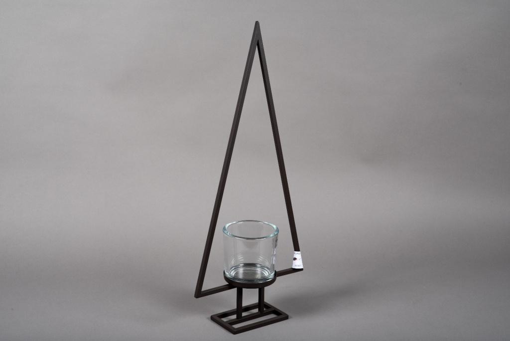 X008ZV Photophore sapin en métal noir sur pied H70cm