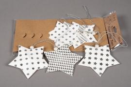 X009U3 Bag of 6 white paper stars deco D12cm