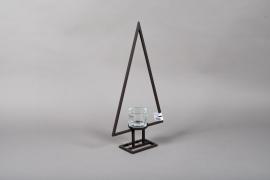 X009ZV Photophore sapin en métal noir sur pied H60cm