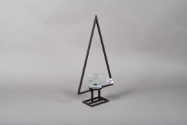 X009ZV Tealight black metal on stand chrismas tree H60cm