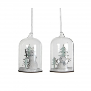 X010DQ Glass bell with wooden christmas decoration assorted D6.5cm