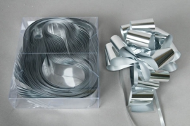X010RB Box of 20 shiny silver automatic knotswidth of the ribbon 50mm