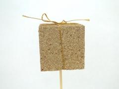 X010Y8 Set de 12 pics cadeaux or pailleté 5cm H50cm