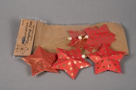 X011U3 Sachet de 6 étoiles déco papier rouge D12cm