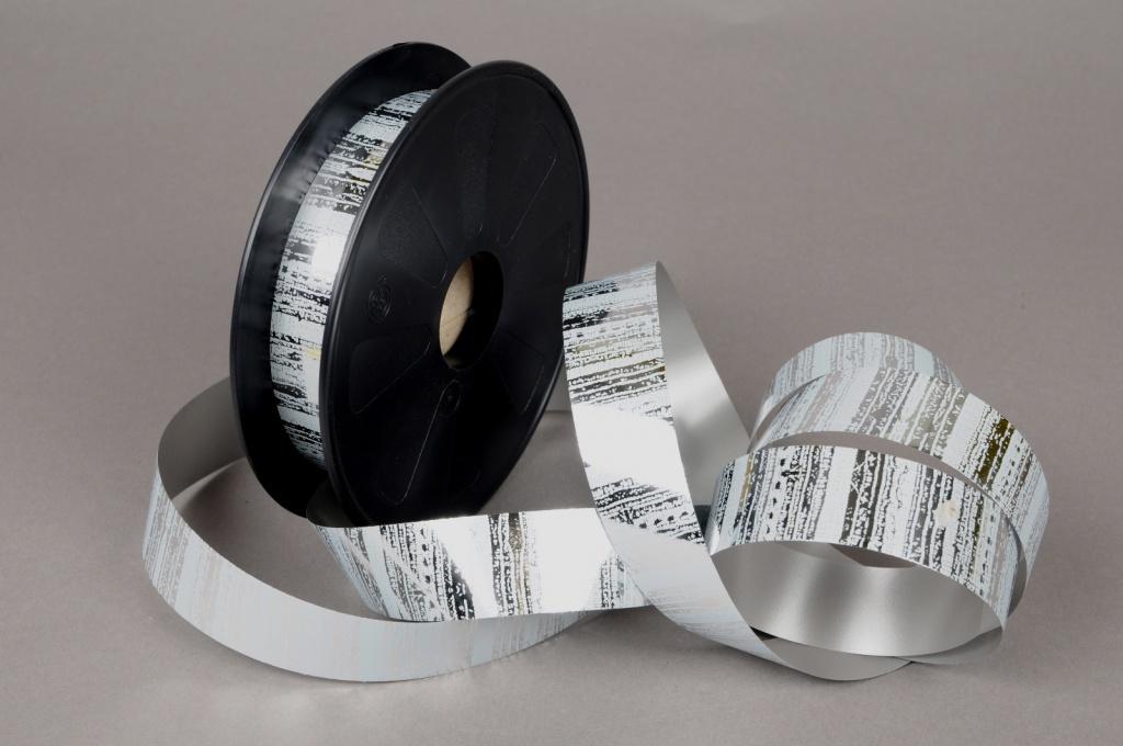 X012FA Ruban métal brillant gris et argent 25mmx68m