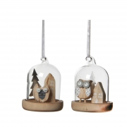X013DQ Glass balls with wooden owl D6cm