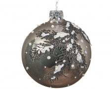 X013KI Box of 6 glass balls with decoration D8cm