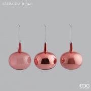 X014QL Boîte de 3 boules en verre vieux rose D10cm