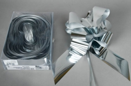 X014RB Box of 25 shiny silver automatic knotswidth of the ribbon 70mm