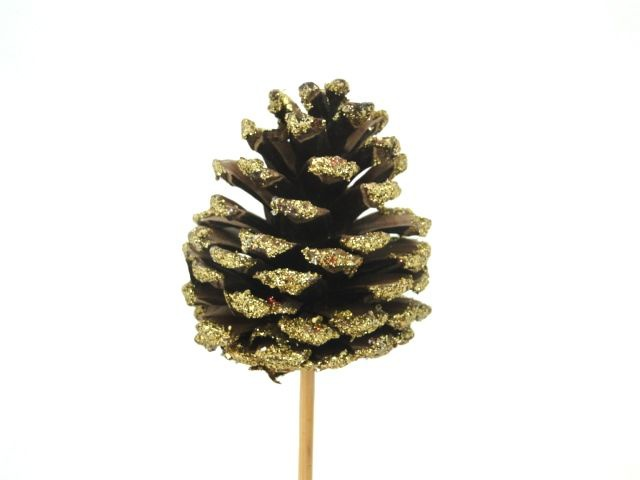 X014Y8 Set of 12 gold glitter pine cone on pic 7cm H20cm