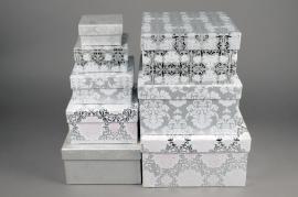 X015HH Set de 8 boîtes en carton argent