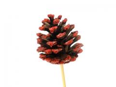 X015Y8 Set de 12 pics pomme de pin rouge pailleté 7cm H20cm