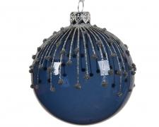 X017KI Box of 6 blue glass balls with decoration D8cm