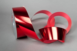 X017RB Red ribbon shiny metal 50mm x 100m