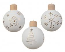 X018KI Box of 3 glass balls D8cm