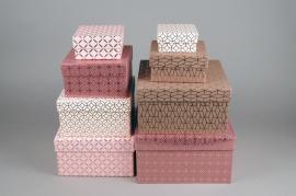 X020HH Set de 8 boîtes en carton rose