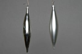 X020T1 Box of 6 shiny or matte silver cones H15cm