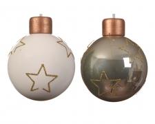 X021KI Box of 3 glass balls assorted D8cm