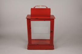 X022HH Lanterne en métal rouge 33cm x 18.5cm H51cm