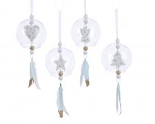 X022KI Glass ball with feathers décoration D8cm