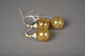 X025KI Déco 3 boules or H27cm