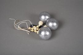 X026KI Déco 3 boules argent gris H27cm