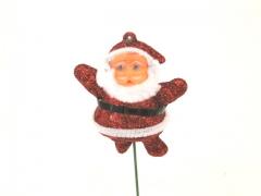 X029Y8 Set of 12 picks glittery red Santa Claus H20cm