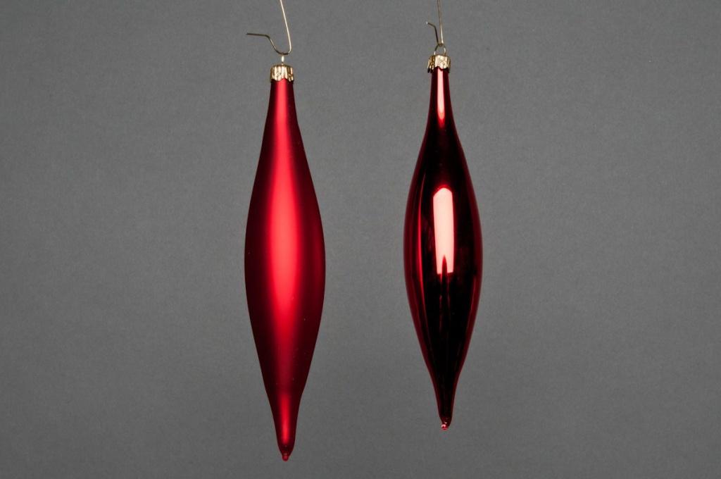 X030T1 Boîte de 6 cônes en verre brillant ou mat rouge H15cm