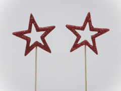 X030X4 Box of 24 star peaks with red glitters D6cm