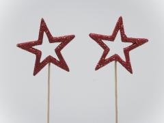 X030X4 Boîte 24 pics étoile à paillettes rouges D6cm