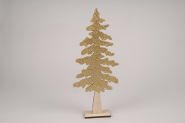 X031L7 Golden wooden Christmas tree H30cm