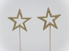 X031X4 Boîte 24 pics étoile à paillettes or D6cm