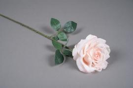 x032am Rose artificielle rose pâle H66cm