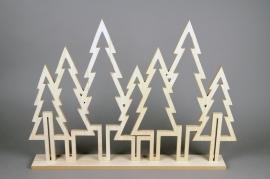 X032DQ Décoration forêt en bois naturel 8cm x 66cm H51cm