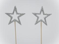 X032X4 Boîte 24 pics étoile à paillettes argent D6cm