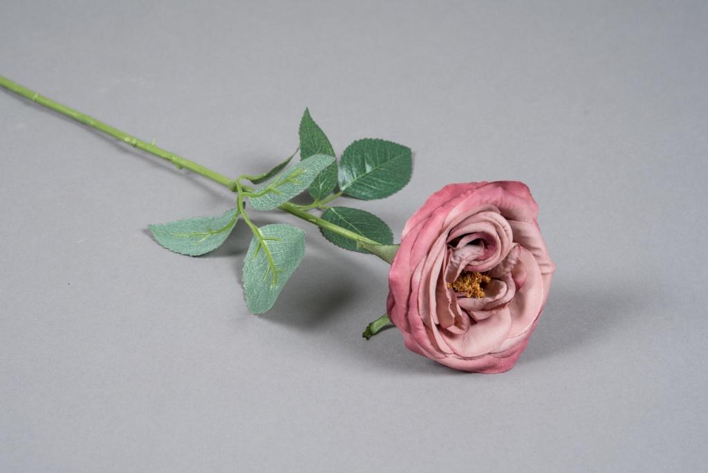 x035am Rose artificielle vieux rose H64cm