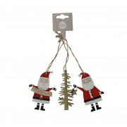 X036DQ Lot de Père Noël en bois rouge à suspendre H9cm