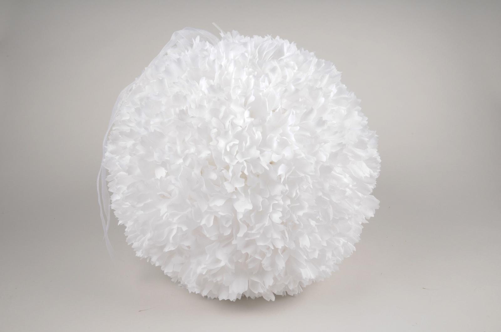 x036fz Boule de pétales de fleurs artificielles blanches D30cm