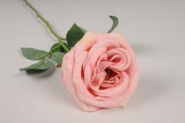 x037am Rose artificielle vieux rose H64cm